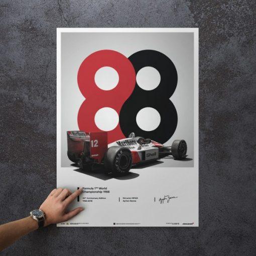 Poster Ayrton Senna McLaren 1988 MP44 50x70cm 1